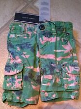 BNWT Tommy Hilfiger boy 6 months cargo shorts green palm 100% cotton adjustable