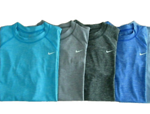 New Nike Men's Hydroguard Rash Guard Swim T-Shirt Blue Black Gray UPF 40+   $38