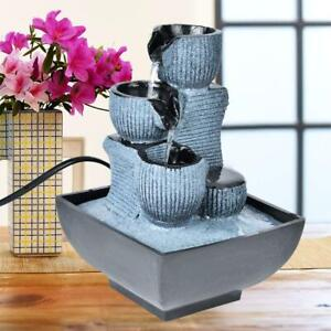 Garden Ornament Fountain Feng Shui Indoor Tabletop Water Feature LED Lights