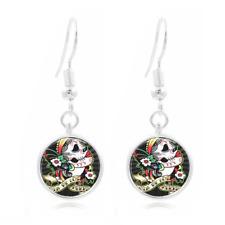 Sugar Art Photo Tibet Silver Dome Photo 16MM Glass Cabochon Long Earrings #182