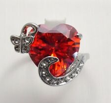 Beautiful Red Heart Ruby w/ Butterfly CZ Detail Silver Ring - Size 7