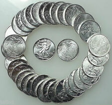 (100) 2 Rolls 1/10 Ounce .999 Pure Silver BU Rounds ☆ Walking Liberty Type