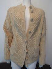 Joseph F Heron Ardara Donegal Ireland Cable Knit Wool Fisherman Cardigan Sz S