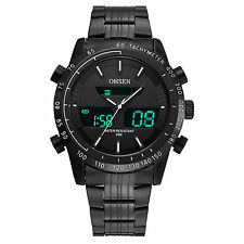 OHSEN Sport Black Stainless Steel Analog Digital Mens Army Quartz Wrist Watch