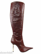 "Italian Crocodile Embossed Leather Stiletto Boots EU 37 Shoes Heels 4 1/4"""