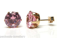 9ct Gold Pink CZ round Studs earrings Gift Boxed Made in UK