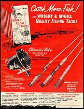 1958 Eagle Claw Hooks Stream & Lake Reel Wright McGill Rods Vintage Print Ad