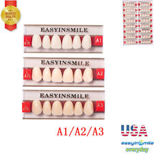 Dental Acrylic Resin Denture False Teeth Upper Lower Full Set A1a2a3 Shade Usa