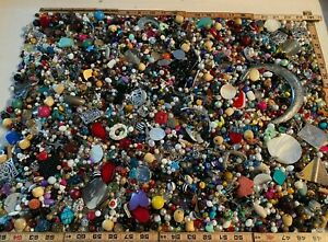 11.6 pound lot of beads, pendants, findings - wood, metal, acrylic, shell, pearl
