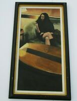 LARGE VINTAGE ESTATE NUDE PAINTING WOMAN FEMALE PRETTY RECLINED MODEL MYSTERY