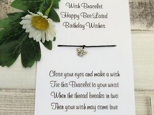Bee Wish Bracelet Friendship Gift Bee Card Forgotten Birthday Belated Birthday