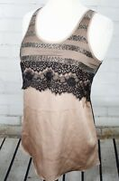 MISS ME Lace Layered Sleeveless Tank Women's Small Gold Black Beaded Mesh Top