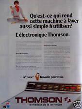 PUBLICITÉ MACHINE À LAVER THOMSON L'ÉLECTRONIQUE AUSSI SIMPLE À UTILISER
