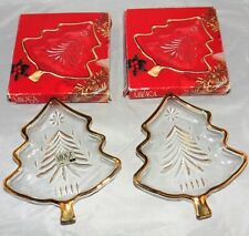 Mikasa Yuletide Gold Trim Tree Dishes Set of 2 NIB