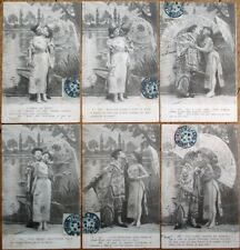 Risque 1904 SET OF SIX French Fantasy Postcards: Woman & Man in Asian Clothing