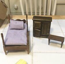 Shackman Vintage Doll House Furniture Bed Dresser Table.    #12751