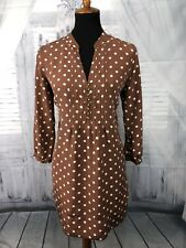 Fossil Womens Tunic Top Pin-tuck 100% Silk Polka Dot Print Brown Sz Large