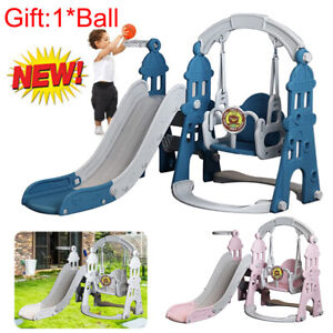 Toddler Slide Swing Set Climb Basketball Kids 4 in 1 In/Outdoor Playground Toy