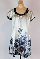 BCBG Maxazria Dress RN86297 Floral Print Size XS Gray Silver (R)