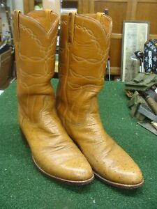 NICE LUCCHESE tan Ostrich Belly COWBOY BOOTS 9.5 D - very good condition
