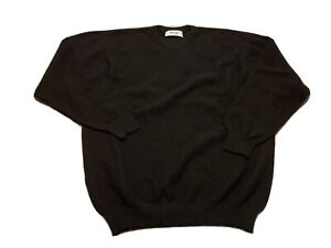 Pringle Of Scotland Mens Merino Angora Sweater Pullover Black Crew Size L/XL