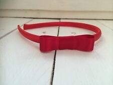 Red Satin Girls Hairband Headband Alice Band Red Bow Back to School Uniform