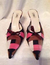 Prada ladies shoes Mules size 38 (8) - Brown Pink Black Geometric Print Satin