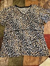 Scrubstar Women's Scrub Top Size Xs Animal Print Leopard