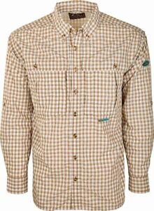 Drake Waterfowl Men's FeatherLite Plaid Wingshooter's Large Shirt Brown Plaid