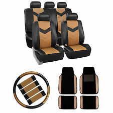 Faux Leather Car Seat Cover w/Leather Floor Mats/Steering/BeltPads Tan