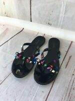 BARCELONA M JELLY SANDAL  BUTTON RHINESTONE STRAP FLIP FLOP By ANN MORE