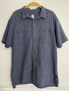 Patagonia Mens Hemp Organic Cotton Short Sleeve Button Down Shirt Blue Plaid L