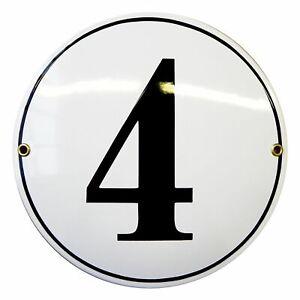 Porcelain address plaque Ø 8″ customisable handcrafted enamel house number sign
