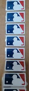 "6 MLB LOGO HELMET STICKER DECALS Size 1 3/8"" x 7/8"" Royal/White/Red NEW"