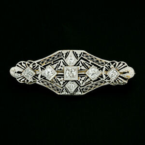 Antique Edwardian 14k Gold 1.00ctw Old European Diamond Filigree Bar Pin Brooch