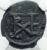 JUSTINIAN I the GREAT Authentic Ancient 527AD Byzantine Cherson Coin NGC i82220