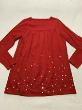 Lands End Girls L 14 + Plus Red Sequin Tunic Shirt Top Long Sleeve