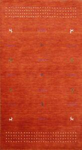 Modern Hand-knotted Gabbeh Oriental Geometric Area Rug Tribal Wool 3'x5' Carpet