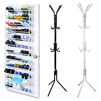 36 Pair Over-The-Door Shoe Rack +12 Hooks Metal Rack Organizer Hanger Hook Stand
