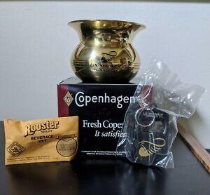 NIP Copenhagen US Smokeless Tobacco Brass Cuspidor + Beverage Key + Rooster Key