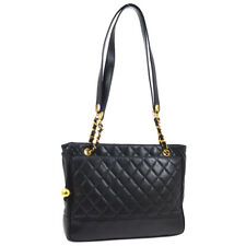 CHANEL CC Quilted Chain Shoulder Tote Bag Black Leather Authentic 2592566 O02819