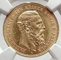 1888 PRUSSIA KINGDOM Germany FRIEDRICH III Gold 10 Mark German Coin NGC i72722