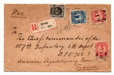 SWEDEN: Registered cover to American Expeditinary Force, France 1919.
