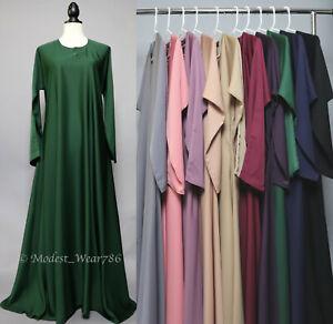 Dubai Classic Everyday Abaya Semi Flare Umbrella Muslim Women Maxi Dress Nida