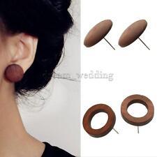 2 Paar Vintage Ohrstecker Holz Ohrringe Runde Förmig für Frauen,Mode Schmuck