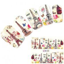 TATTOO NAIL ART TORRE EIFFEL PARIGI LONDRA adesivi unghie sticker