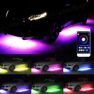 4x RGB LED Car Strip Underglow body Neon Light Kit Sound Music Phone APP Control