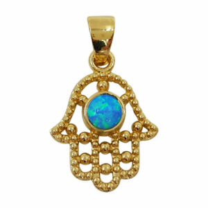 14K Gold Filled HAMSA NECKLACE Hand of Fatima Filigree Pendant with Blue Opal