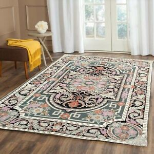503 Vintage Aubusson Rug Handwoven Floral Needle point Home Decoration Rug 5x8
