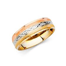 Cut Anniversary Wedding Engagement Ring Band Men 14k Yellow Tri Tone Gold Dia.